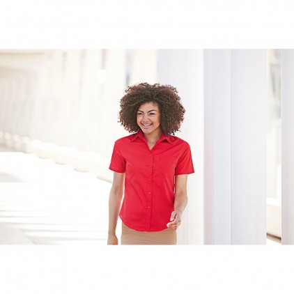 Fruit of the Loom Ladies Poplin Shirt Short Sleeve