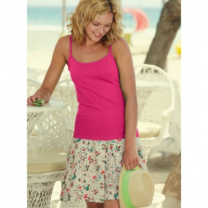 Fruit of the Loom Lady-Fit Rib Strap Tee
