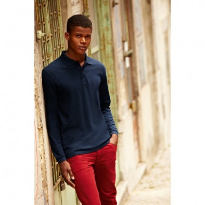 Fruit of the Loom Premium Long Sleeve Polo 100 per cent Cotton